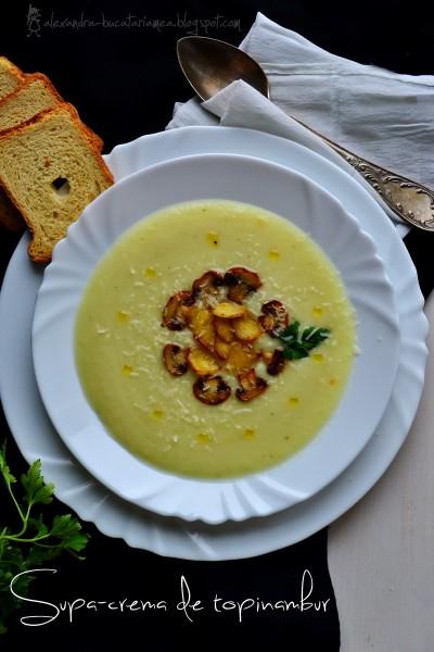 Supă cremă de topinambur cu păstârnac şi ciuperci