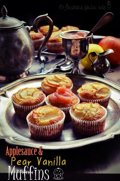 Muffins cu sos de Mere, Pere și Vanilie