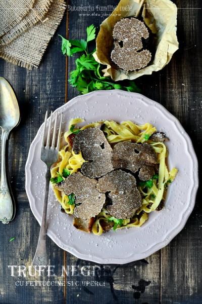 Trufe negre cu fettuccine si ciuperci