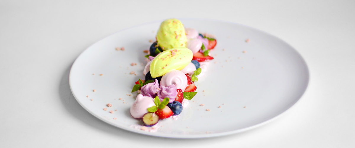 Pavlova | Basil Ice Cream | Blueberry Meringue | Strawberry Marshmallows